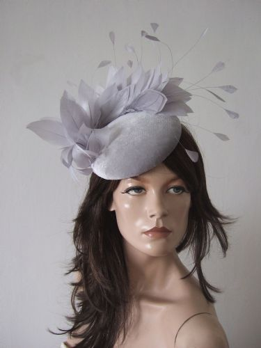 "Silver Grey Velvet Feathers Smartie Cocktail Hat Headpiece Fascinator Hat ""Enya"" Winter Weddings"